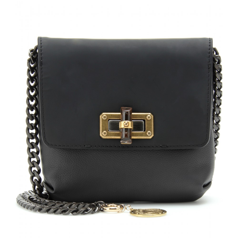 Lanvin Leather Shoulder Bag with Chain Strap in Black | Lyst