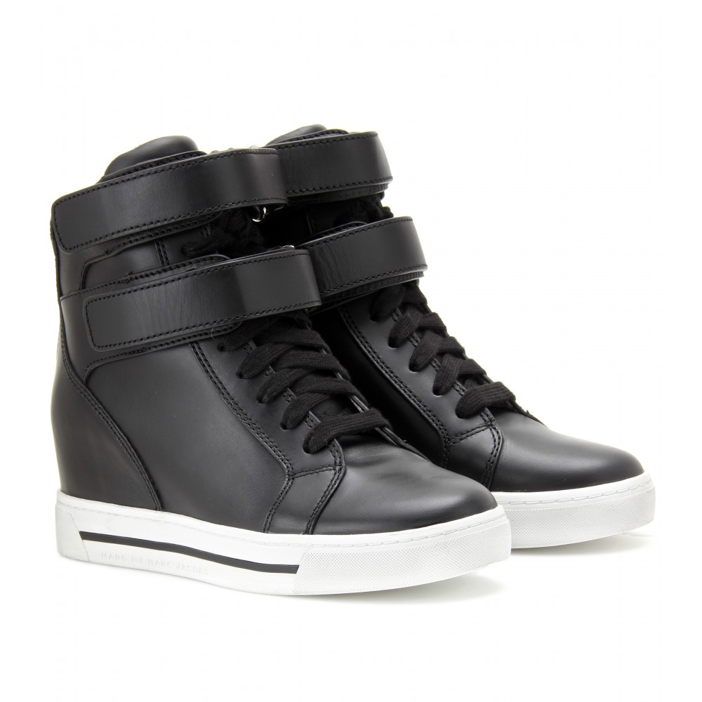 Lyst - Marc By Marc Jacobs Leather Hightop Wedge Sneakers ...