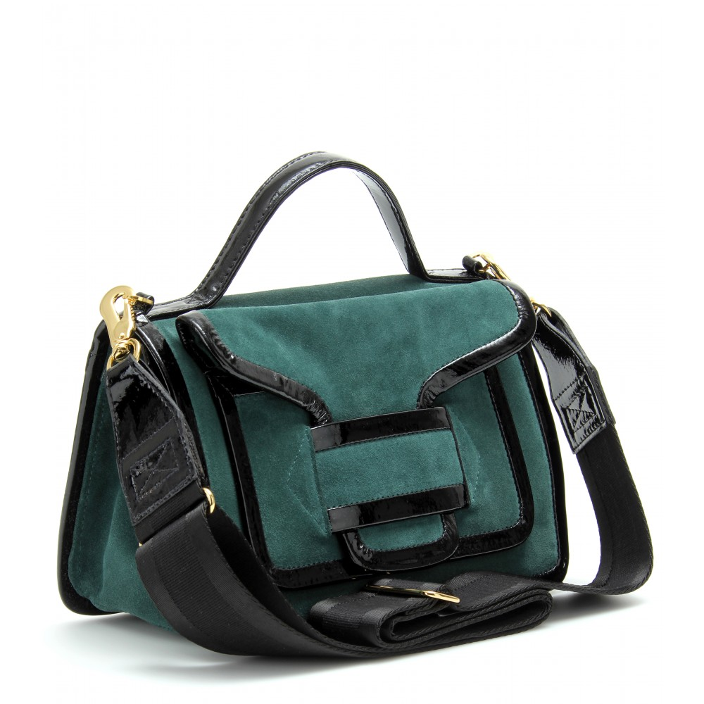 bd3dda01fd4 Lyst - Pierre Hardy Suede Shoulder Bag with Patent Leather Trim in Green