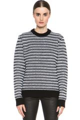 Proenza Schouler Cashmere Sweater in Black White Stripes - Lyst