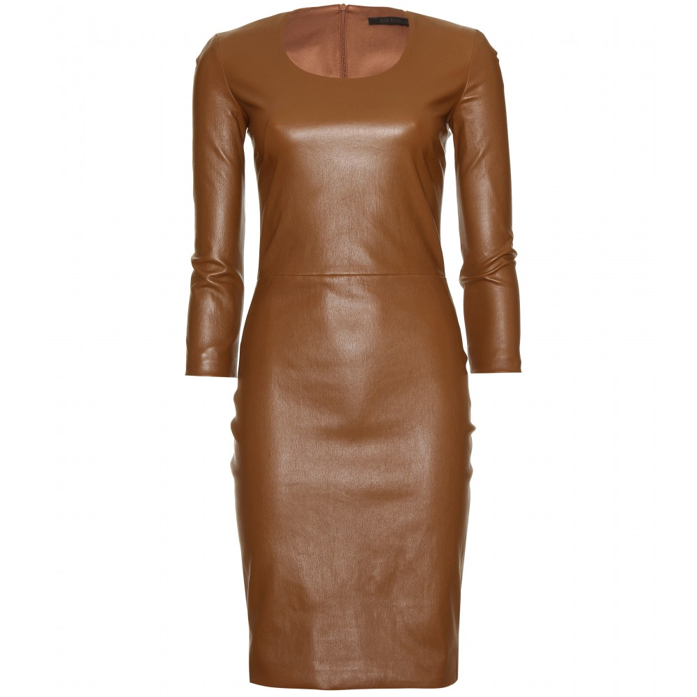 The row quarny leather dress in brown saddle lyst