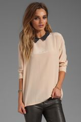 Equipment Colorblock Grace Blouse with Contrast Collar in Beige - Lyst