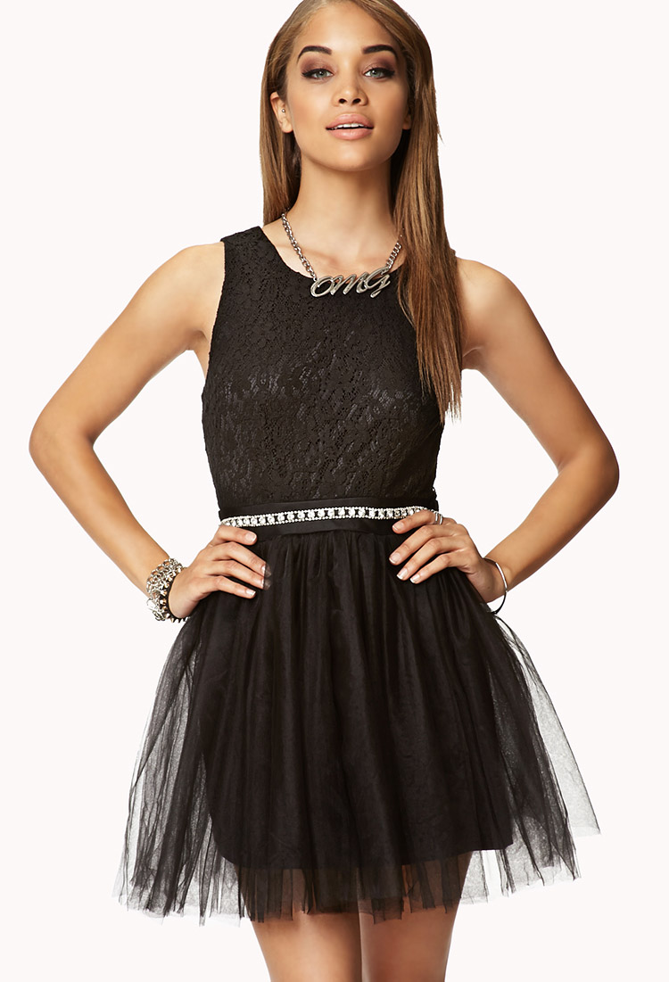 Lyst Forever 21 Fit Flare Floral Lace Dress In Black