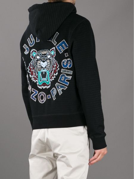 kenzo striped tiger print hoodie in black for men tiger
