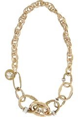 Lanvin Goldtone Crystal Link Necklace - Lyst