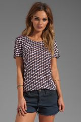 Marc By Marc Jacobs Puzzle Print Jersey Short Sleeve Top in Navy - Lyst