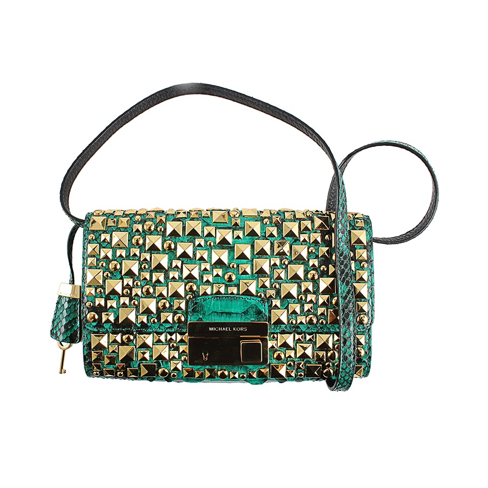 lyst michael kors python gia stud clutch in green