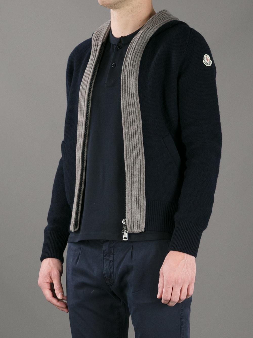 Moncler Hooded Zip Cardigan in Blue for Men | Lyst