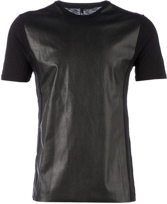 Neil Barrett Faux Leather Front Tshirt - Lyst
