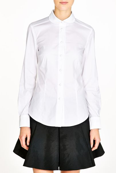 White Botton Blouse Runched Waist 87
