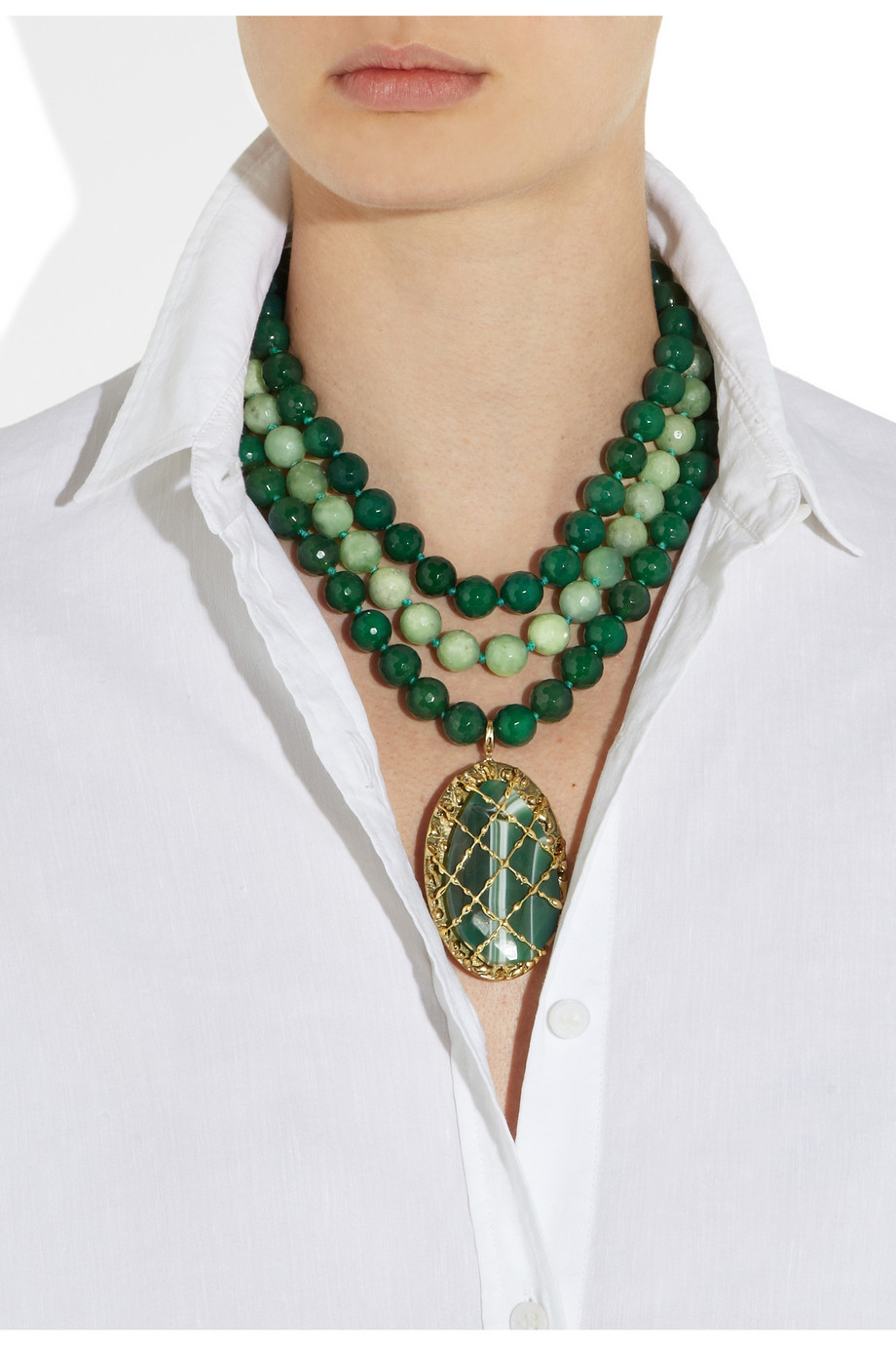 Lyst Rosantica Artemide Agate And Opal Necklace In Green