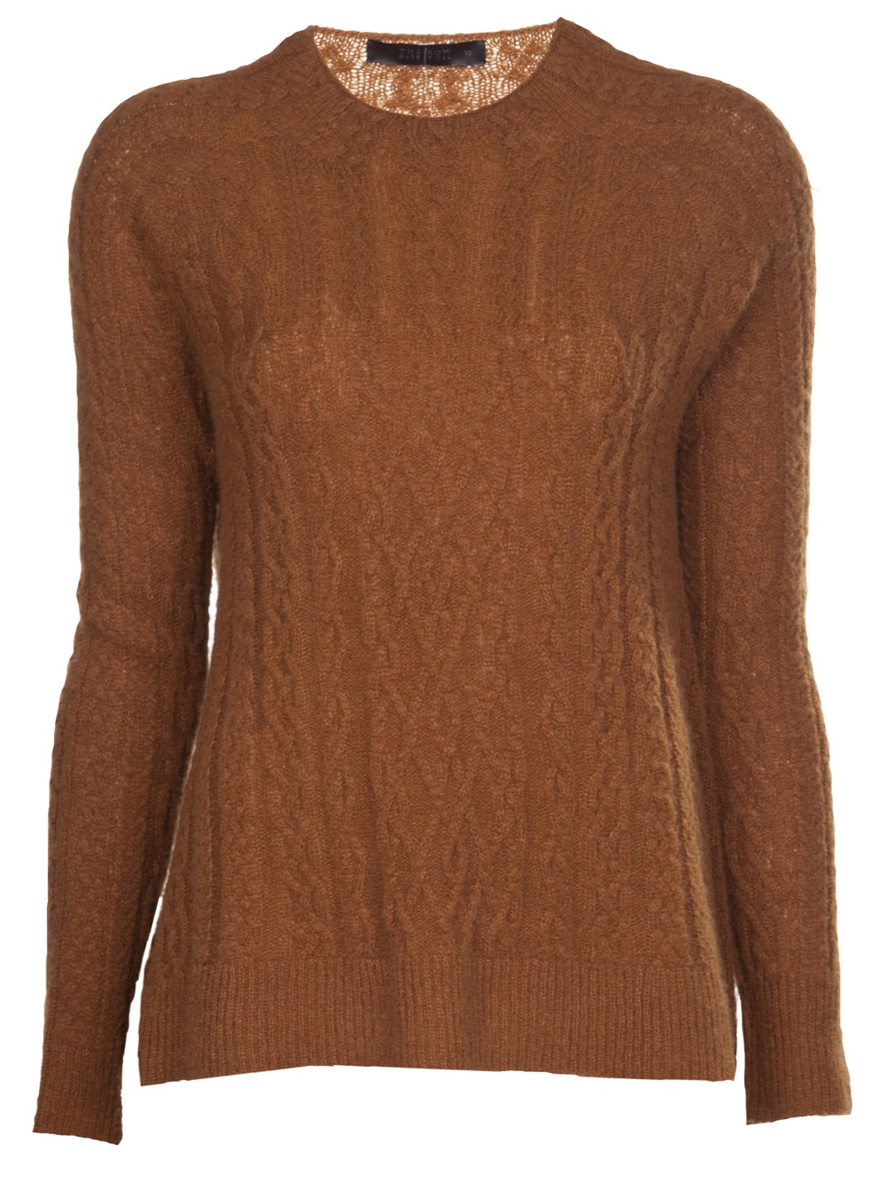 The row Cable Knit Sweater in Brown | Lyst