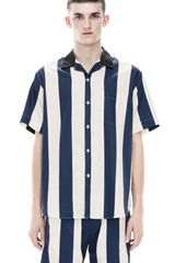 Acne Oahu Navy Stripe - Lyst