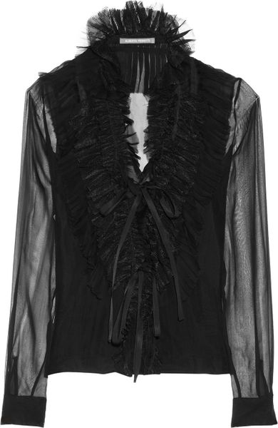 Alberta Ferretti Ruffled Lace trimmed Silk chiffon Top in Black