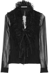 Alberta Ferretti Ruffled Lace trimmed Silk chiffon Top in Black - Lyst