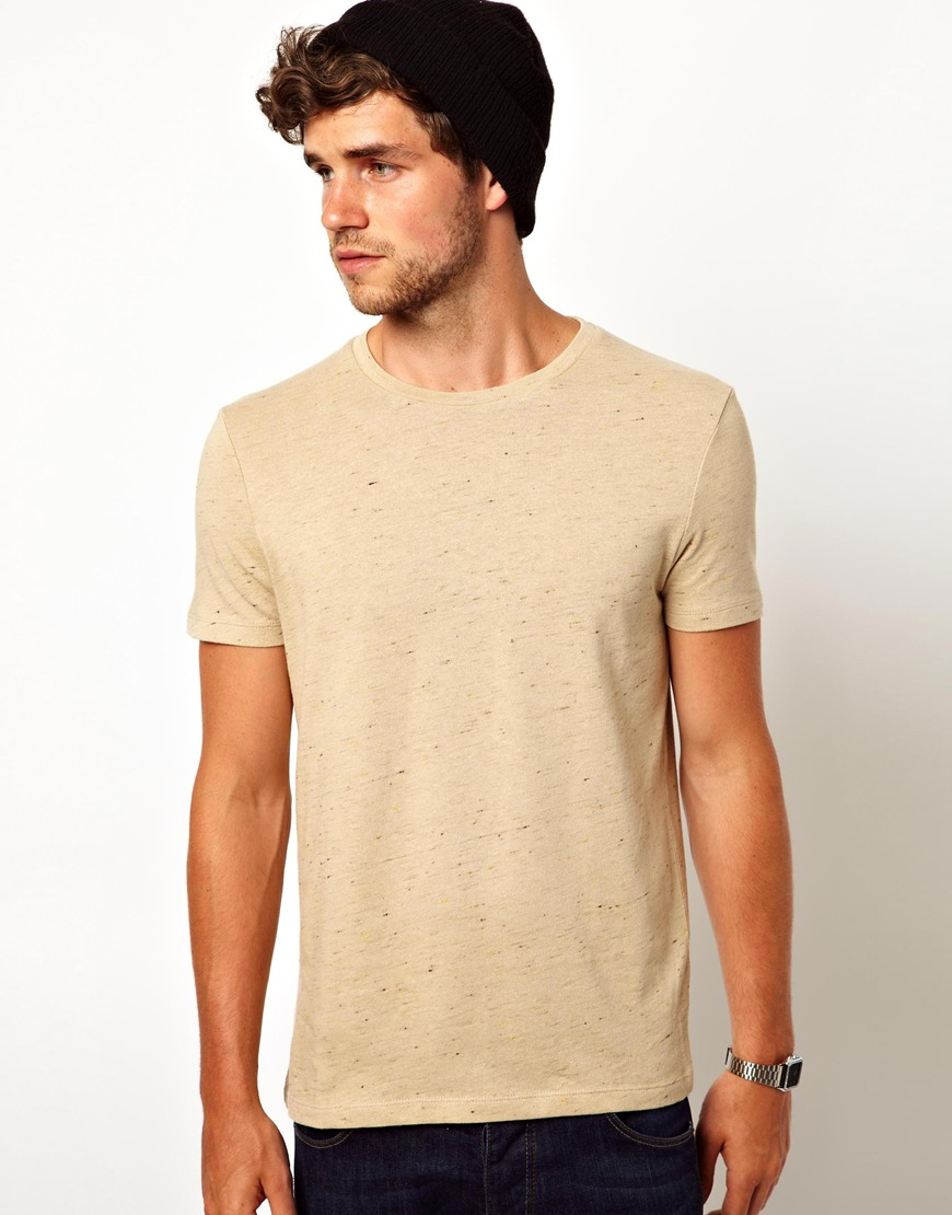 Lyst - Asos T-Shirt With Crew Neck And Slubby Jersey in Natural ...