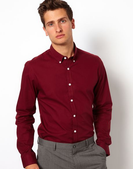 Asos smart shirt with button down collar in red for men for Button down collar dress shirts