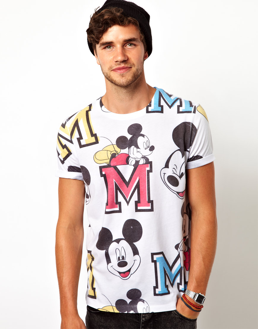 asos tshirt with all over varsity mickey mouse print in white for men lyst. Black Bedroom Furniture Sets. Home Design Ideas
