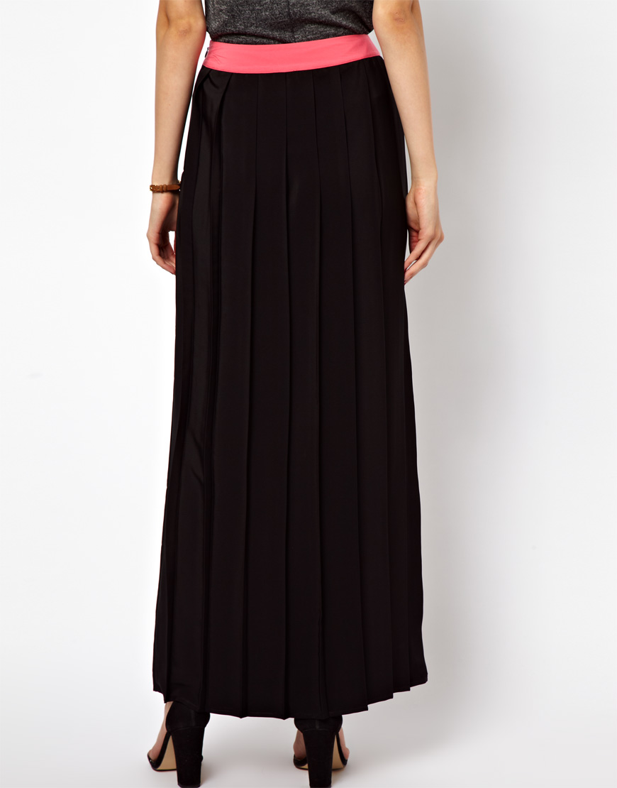 asos pleated maxi skirt in colour block lyst