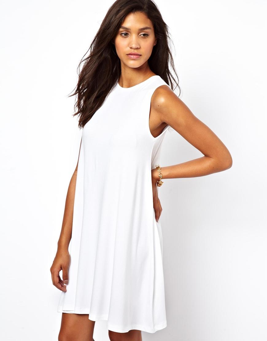 34ce3fe07059 ASOS Sleeveless Swing Dress in White - Lyst