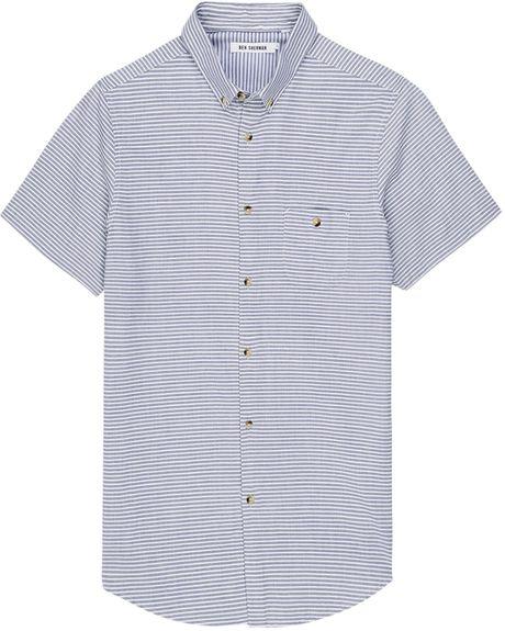 Ben sherman laundered horizontal stripe shirt in blue for for Horizontal striped dress shirts men