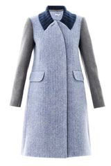 Carven Contrast Sleeve Wool Coat - Lyst