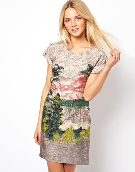 French Connection Printed Tshirt Dress In Multicolor