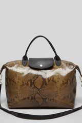 Longchamp Satchel Le Pliage Python with Strap - Lyst