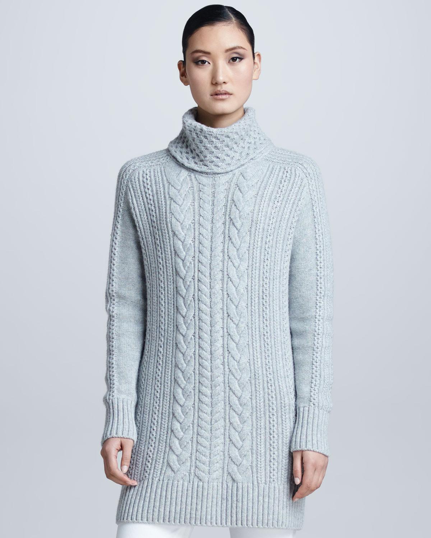 Loro piana Cableknit Cashmere Turtleneck Tunic Sweater in Blue | Lyst
