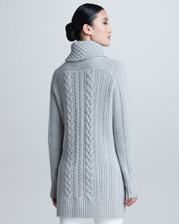 Loro piana Cableknit Cashmere Turtleneck Tunic Sweater in Blue   Lyst