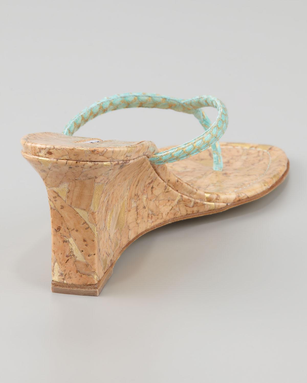 9b565914f5ba Lyst - Manolo Blahnik Patwedfac Snakeskin Wedge Thong Sandal in Blue