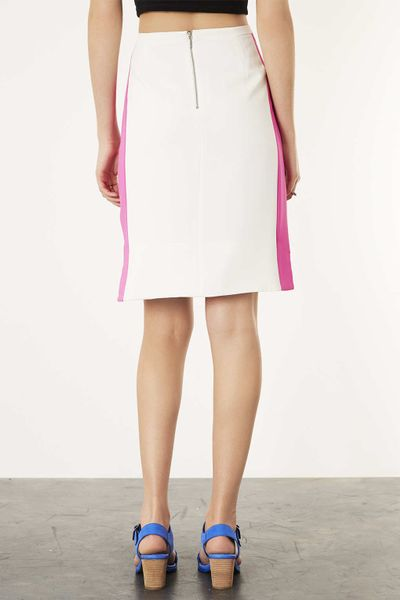 topshop colour block pencil skirt in pink lyst