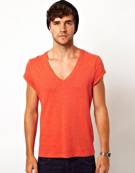 Asos T Shirt With Deep V Neck And Slubby Jersey In Orange