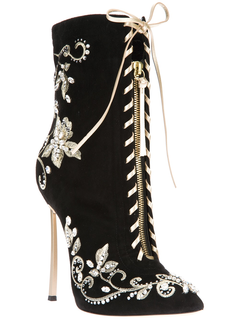 Casadei Embroidered Stiletto Boot In Black Lyst