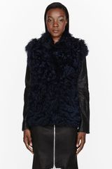 Cedric Charlier Blue and Black Shearling Jacket - Lyst