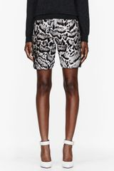 Christopher Kane Grey Calf hair and Leather Snow Leopard Print Shorts - Lyst