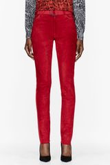Denis Gagnon Red Jersey and Suede Skinny Trousers - Lyst