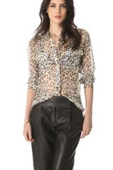 Equipment Signature Leopard Floral Button Down - Lyst