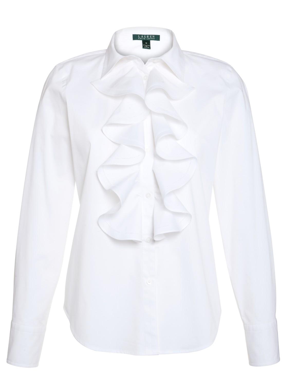 White Ruffle Women'S Blouse 73