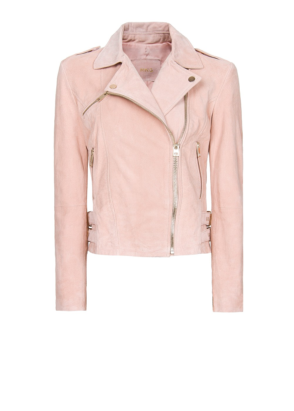 Mango Suede Biker Jacket In Pink Lyst