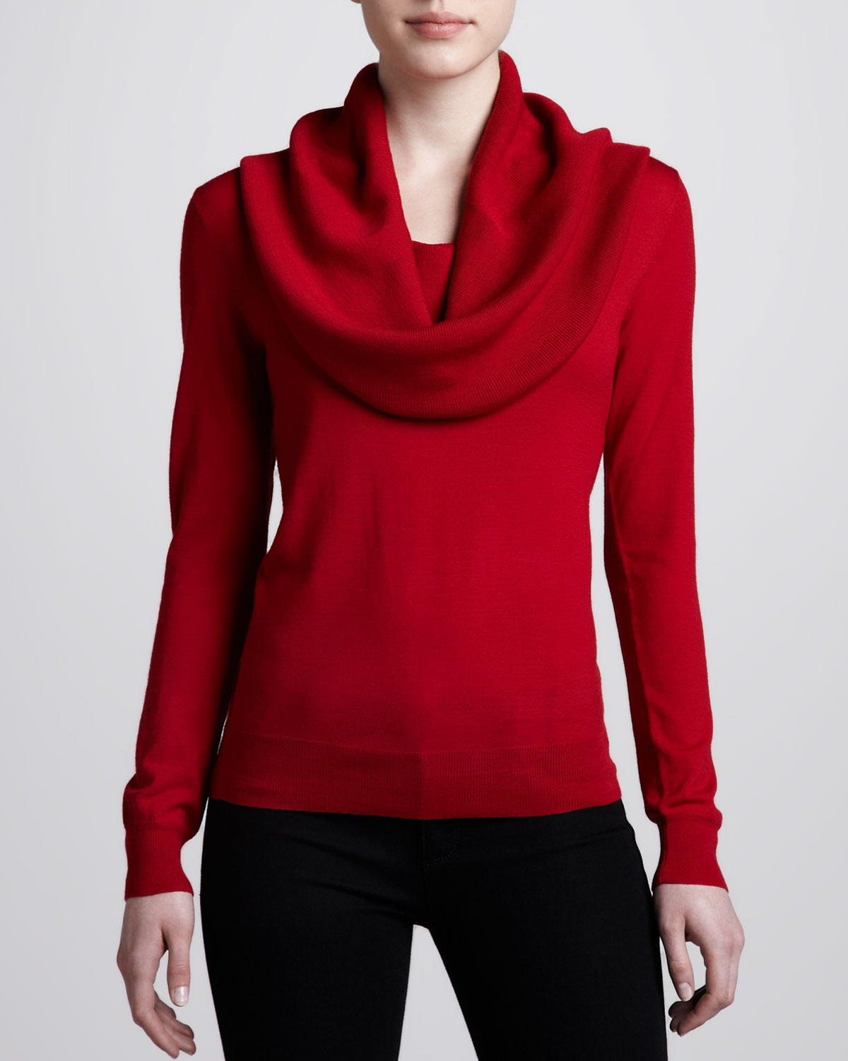 Michael kors Cowl Neck Sweater in Red | Lyst