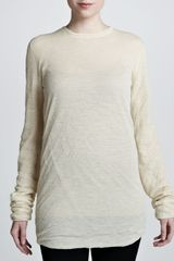 Michael Kors Bias Ruched Long Sleeve Tee - Lyst