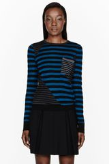 Proenza Schouler Blue and Black Striped Pocket Sweater - Lyst