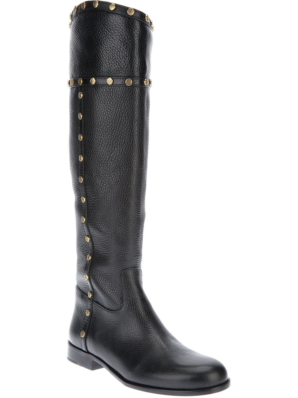 burch studded knee high boot in black lyst