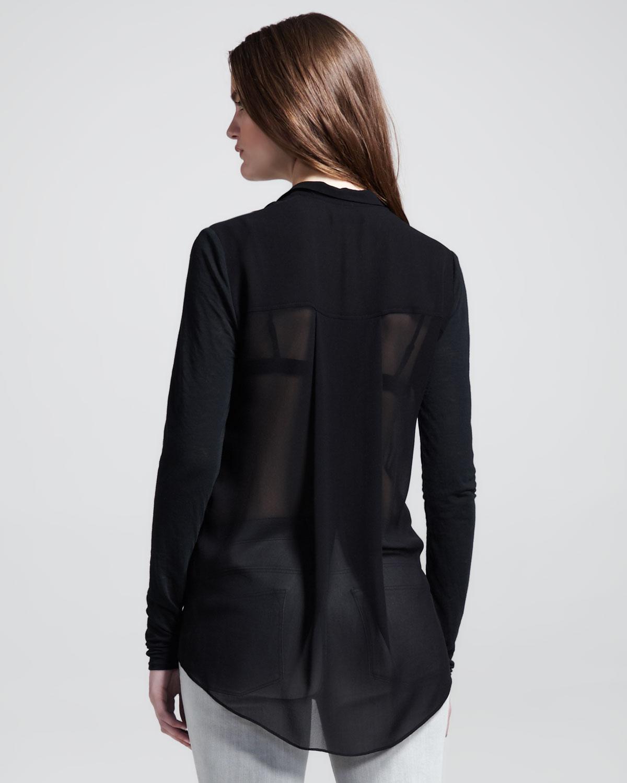 Black Sheer Blouse V Neck Sexy Long Sleeves Chiffon Tops