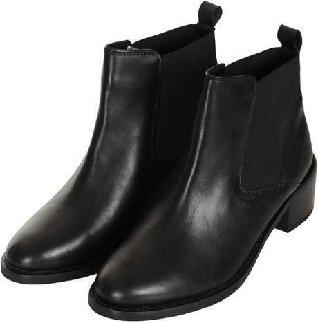 topshop affanita mid heel chelsea boots in black lyst
