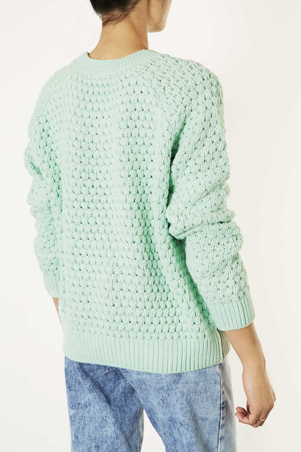Knitting 3 Stitch Bobble : Topshop Knitted Bobble Stitch Jumper in Green Lyst