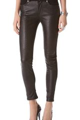 7 For All Mankind Pieced Leather Skinny Jeans - Lyst