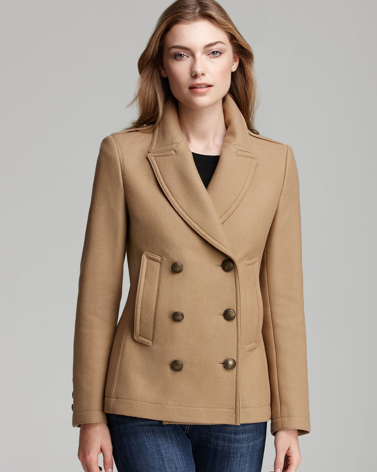 Burberry brit Topcliffe Double Breasted Wool Coat in Brown | Lyst