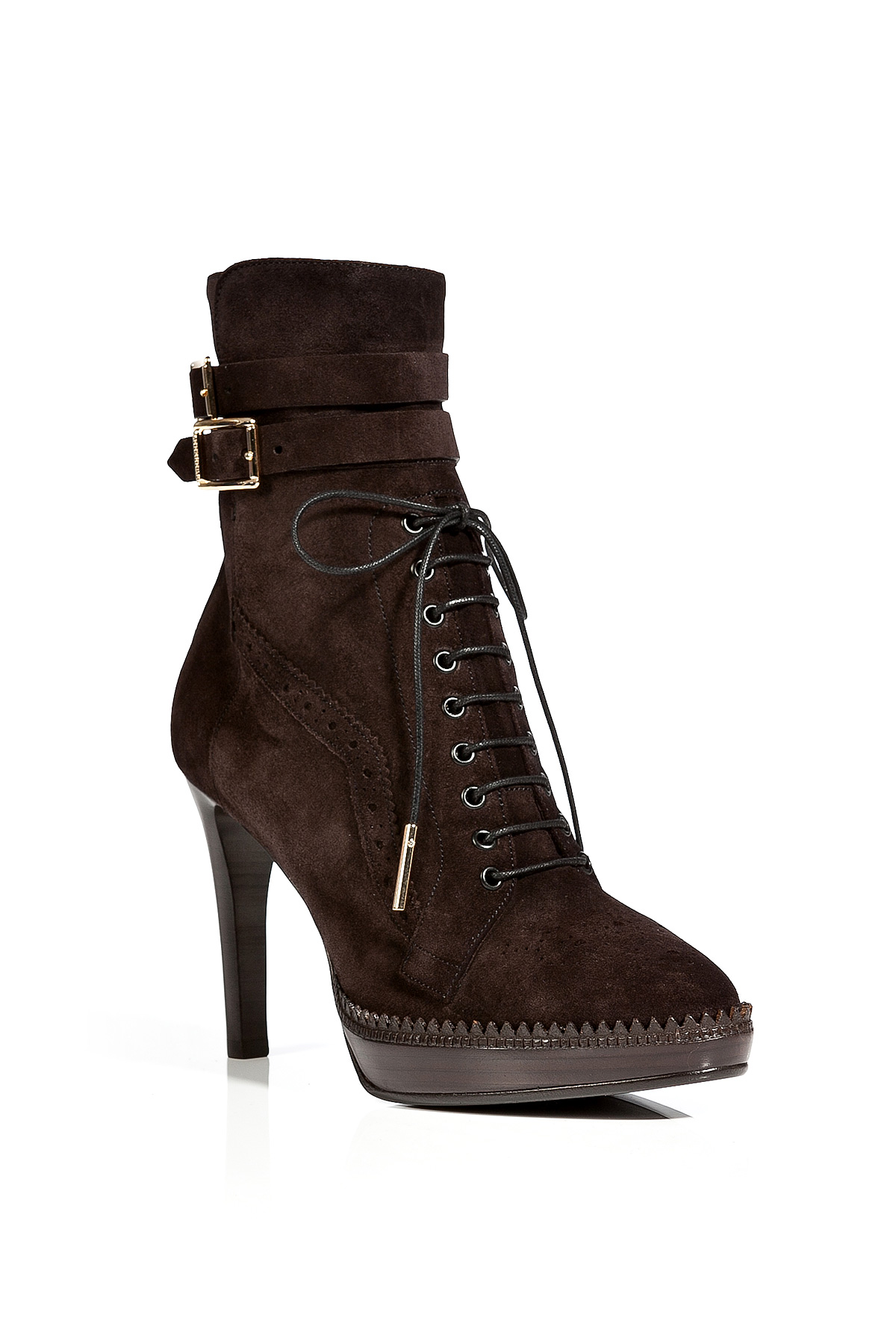 burberry suede manners ankle boots in chocolate in brown